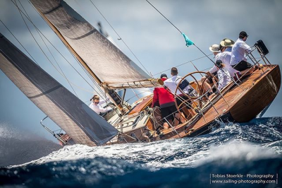 Stone sailing on the Blackfish in the Antigua Classic Yacht Regatta last year. The boat came in second. Photo by: Tobias Stoerkle